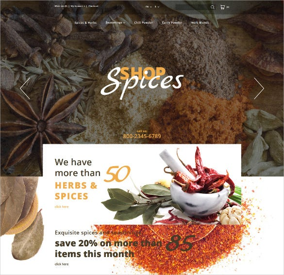 creative spices shop opencart template