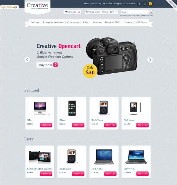 creative opencart ecommerce theme