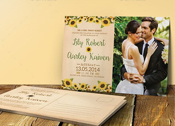 beautiful sunflower wedding invitation