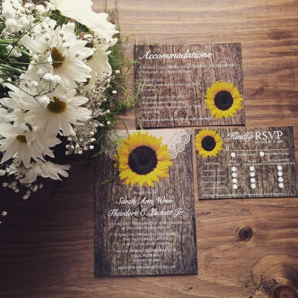 Sunflower Wedding Invitation Template – Sample, Example Format Download