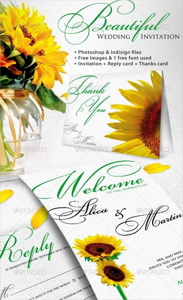 sunflower wedding invitation 16 psd jpg format download free
