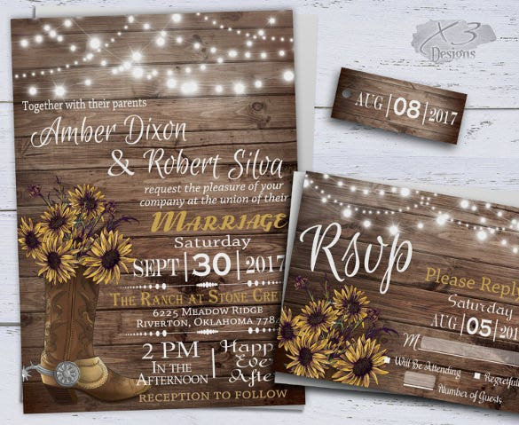 cowboy boot string light wedding invitation