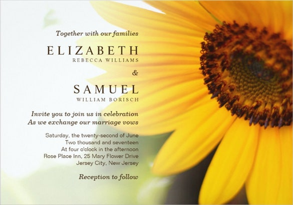 sunflower celebration wedding invitation