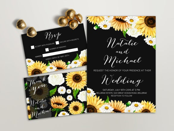 sunflower daisy wedding invitation set