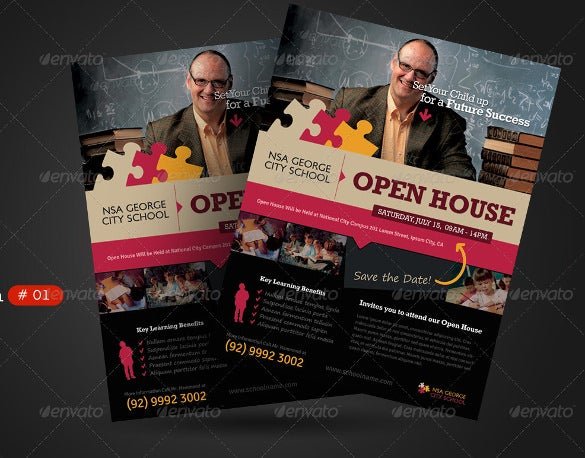 school open house flyers templates
