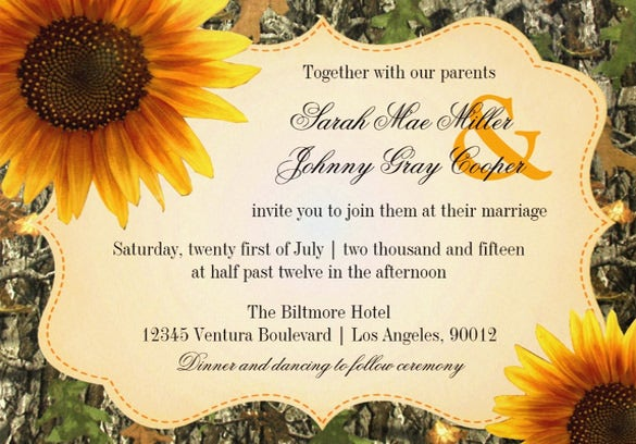 Sunflower Wedding Invitation PSD JPG Format Download Free - Sunflower wedding invitations templates