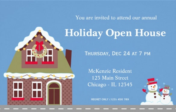 holiday open house invitation cards