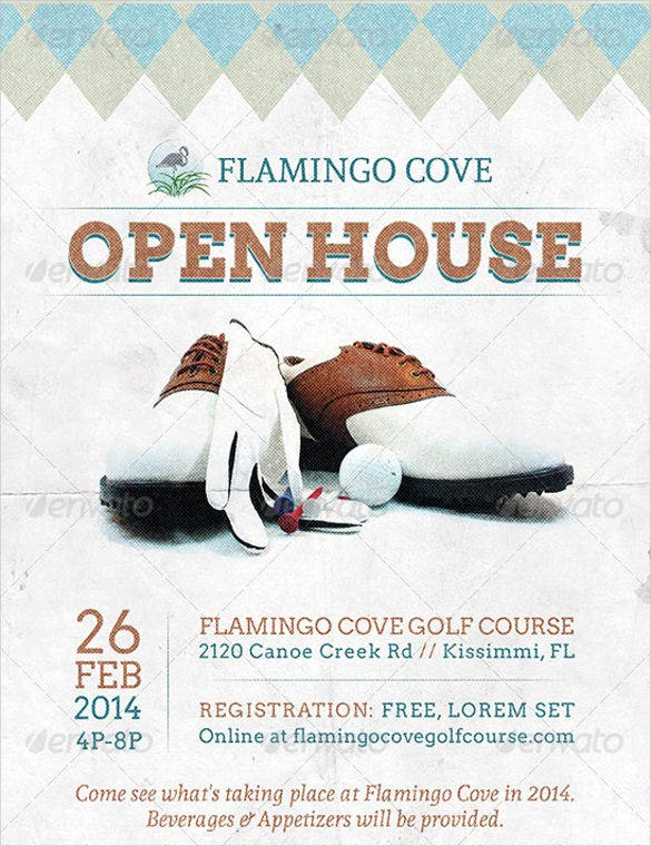 flamming golf open house template