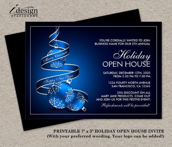 elegant business holiday open house invitations card