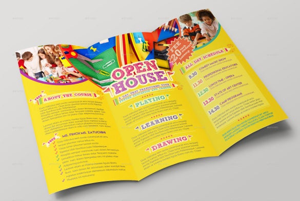 open house trifold brochure template card