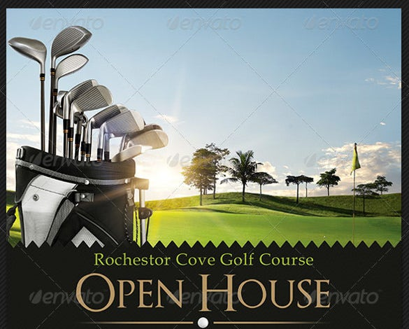 blue golf course open house flyer templates