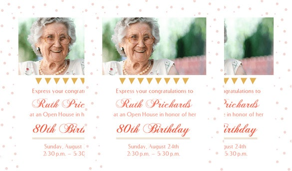 80 open house party birthday invitation template