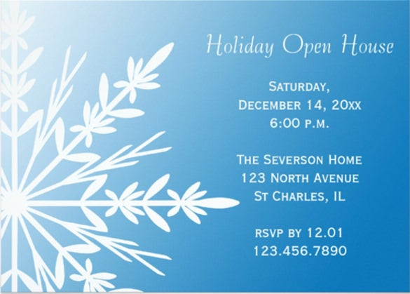 snowflake on blue open house invitation card