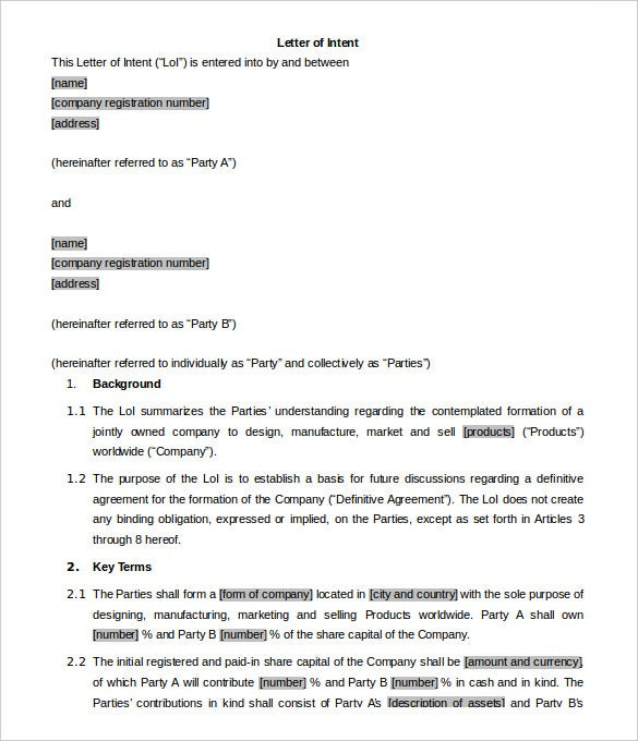 Business Letter Of Intent   Free Word Pdf Format Download