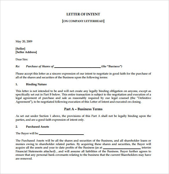 Letter Of Intent For Business