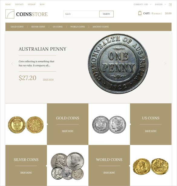 creative coin store prestashop theme