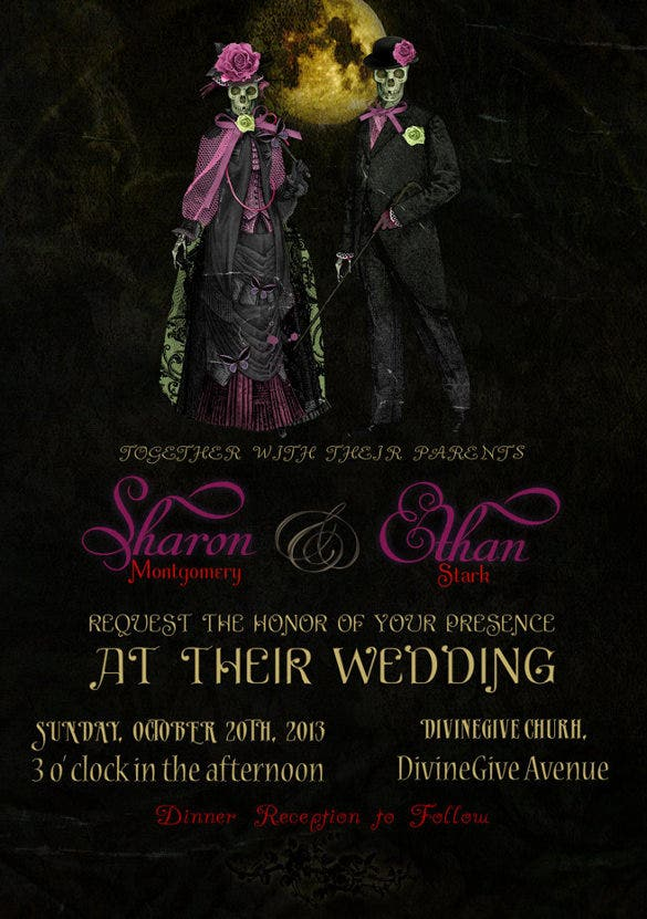 romantic couple halloween wedding invitation