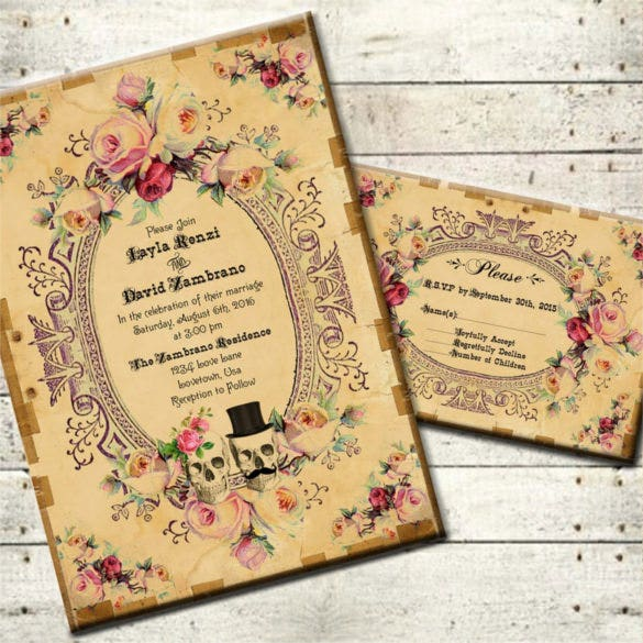 steampunk antique skulls halloween wedding invitation