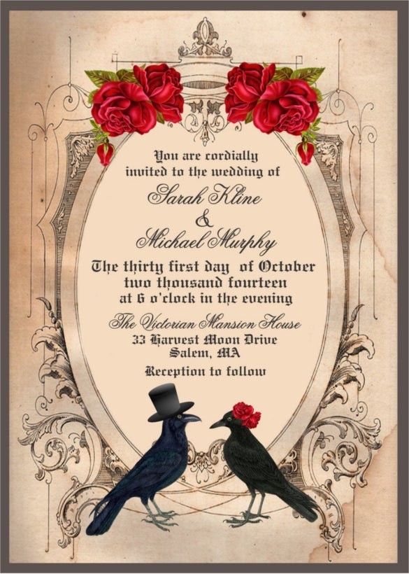 custom printable halloween wedding invitation