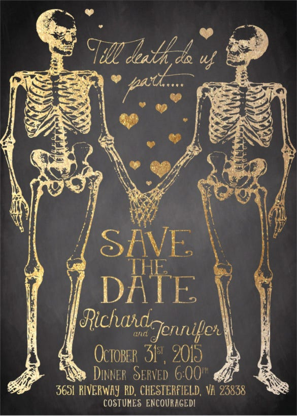 skeleton couple halloween wedding invitation