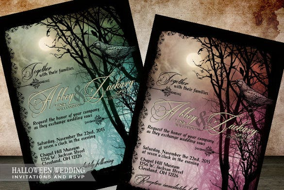 digital printable halloween wedding invitation