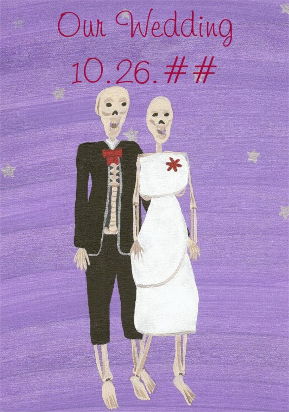 skeleton halloween wedding invitations template