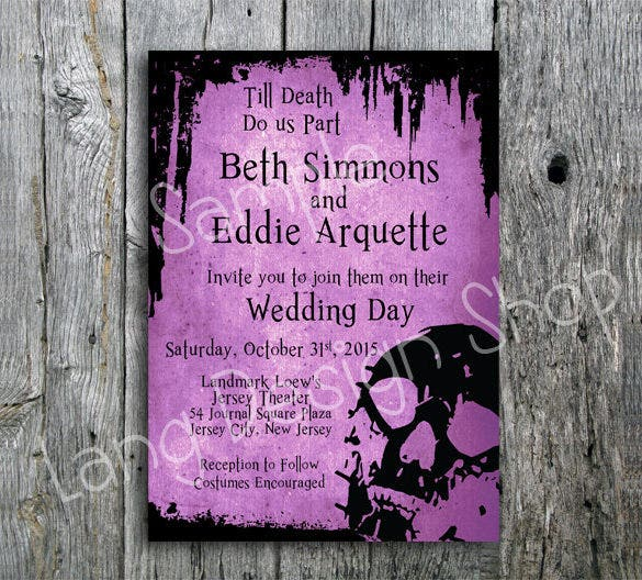 halloween wedding invitation suite with skull and bats