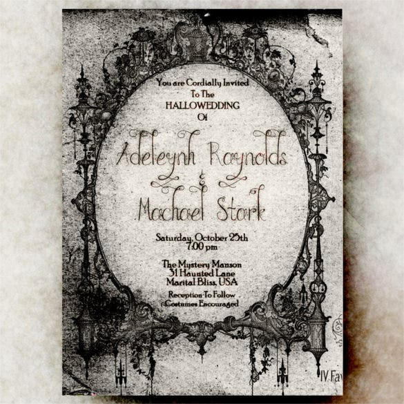 Halloween Wedding Invitation Templates  Free Sample Example