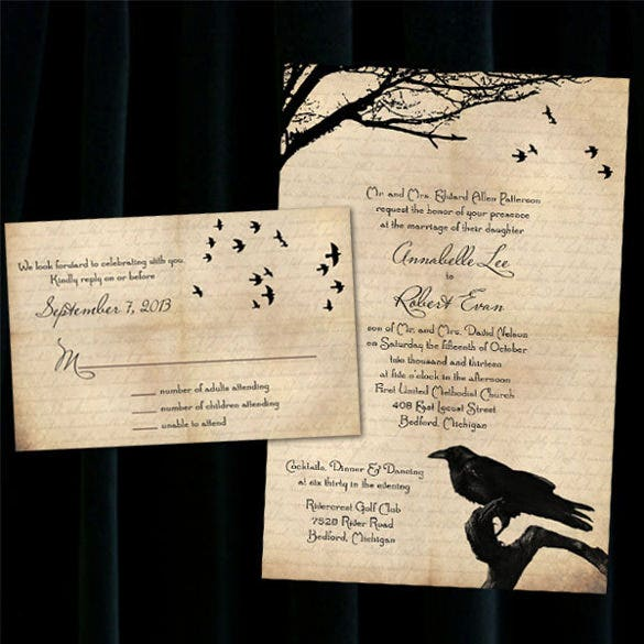 Free halloween wedding invitations template