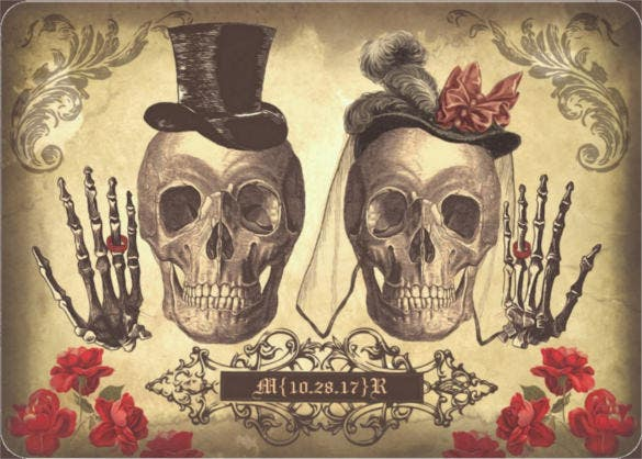 gothic skull couple halloween wedding invitation