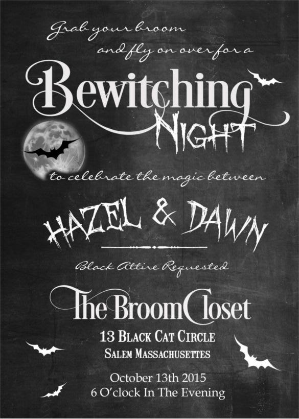 bewitching halloween wedding invitation