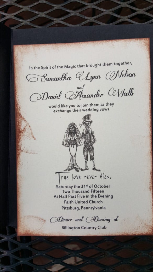 true love never dies skeleton halloween wedding invitation