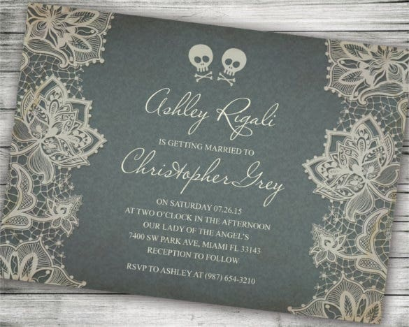 sample skull and cross bones halloween wedding invitation