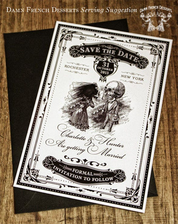 save the date halloween wedding invitation
