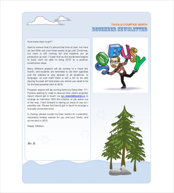 christmas holiday newsletter template