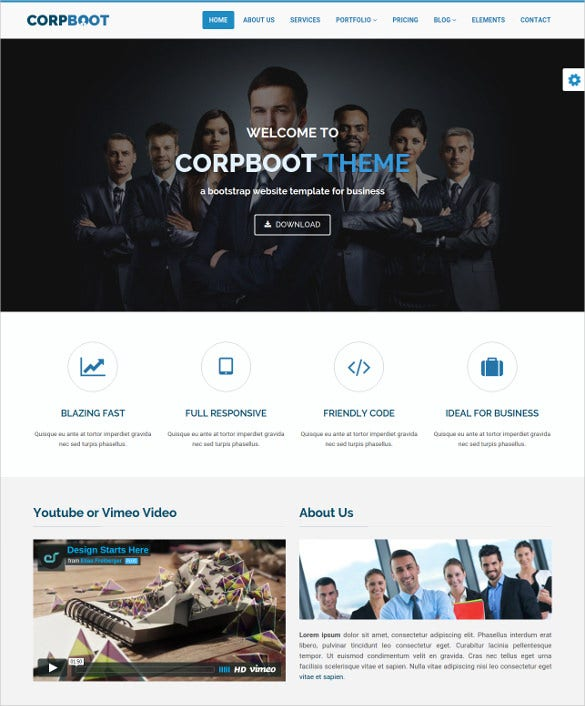 corporate bootstrap for business template