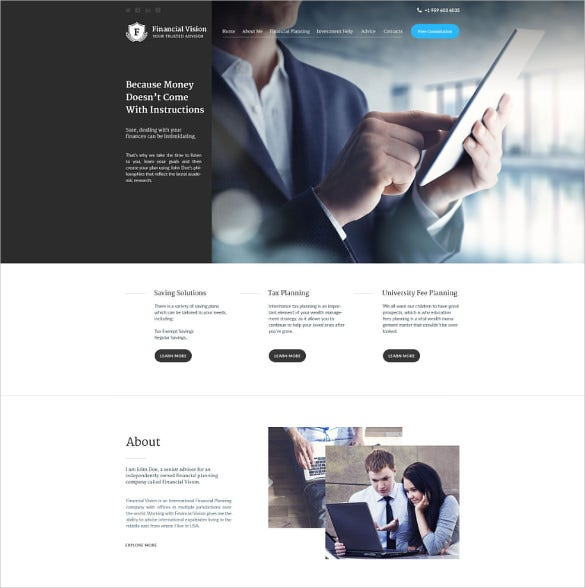 finacial corporate bootstrap template