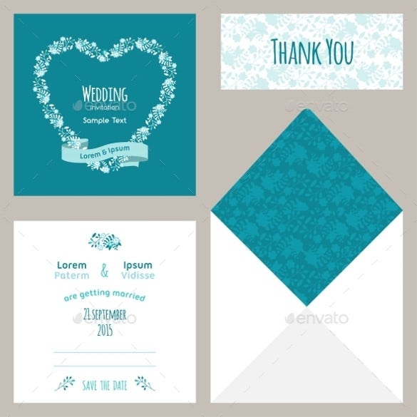 blue wedding templates invitation card