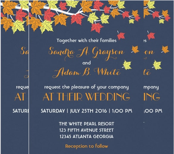 navy blue falling maple leaves wedding invitation for autumn