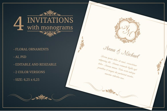 wedding invitations with monograms 4
