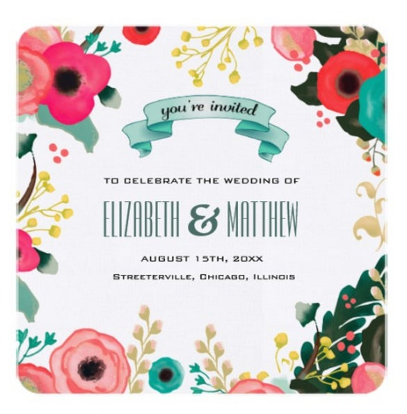 modern floral design wedding invitations