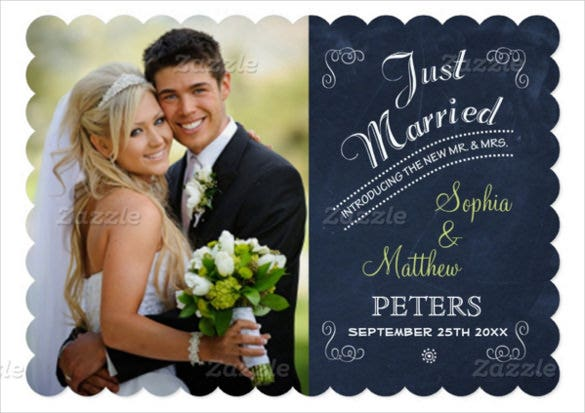 chalkboard photo just married card