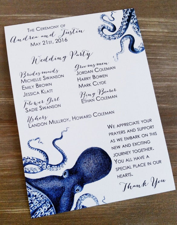 blue nautical octopus wedding invitation
