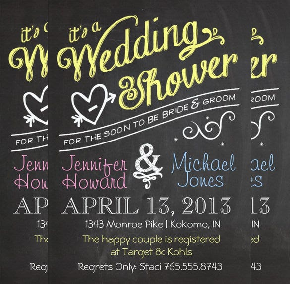 chalkboard happy couples wedding invitation