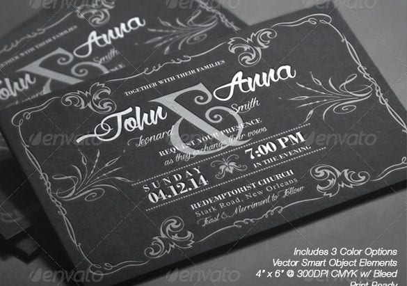 black and teal wedding invitation