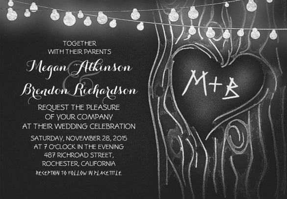 chalkboard romantic wedding invitation