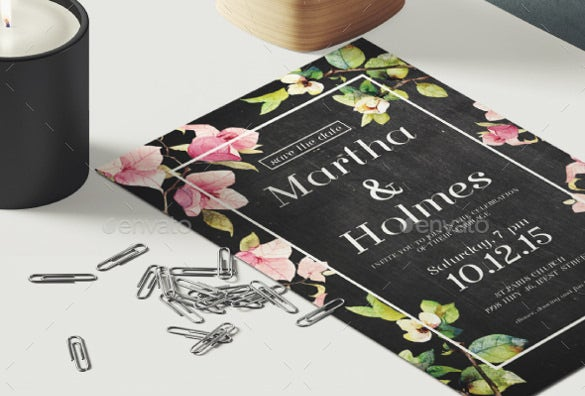 flower chalkboard wedding invitation