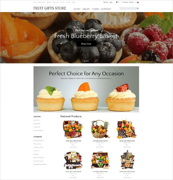 creative delicious gifts zencart theme