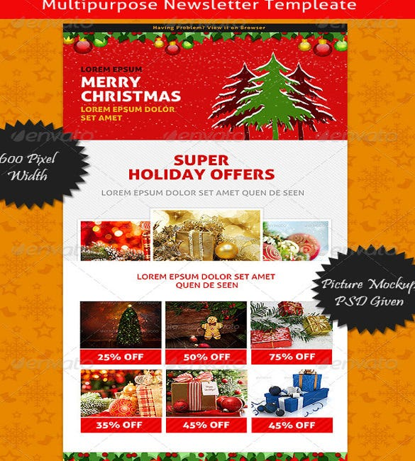Christmas E Newsletter Template  News Letter Formats