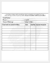 Food Order Delivery Form PDF Template
